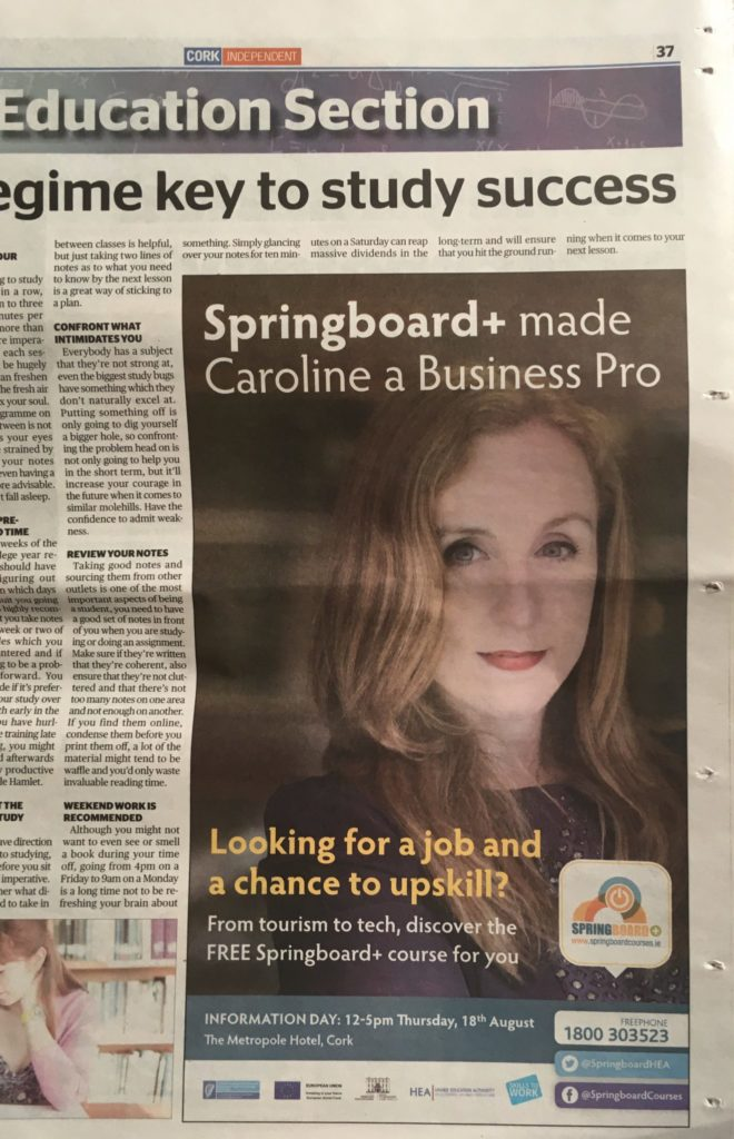 Springboard+ Ad in Cork Independent